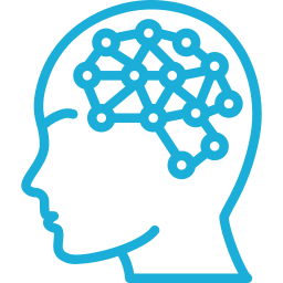 Light blue outline icon of a head and inside brain